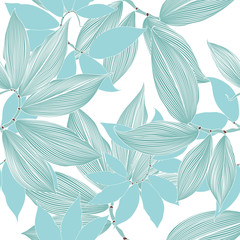 Seamless floral pattern with hand-drawn abstract tropical leaves.