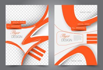 Abstract flyer template. Business brochure design. Orange color. Vector illustration.