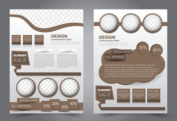 Abstract flyer template. Business brochure design. Brown color. Vector illustration.