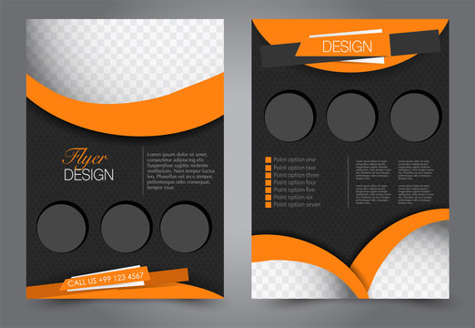Abstract flyer template. Business brochure design. Black and orange color. Vector illustration.