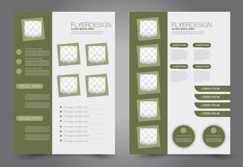 Abstract flyer template. Business brochure design. Green color. Vector illustration.