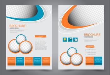 Flyer template. Design for a business, education, advertisement brochure, poster or pamphlet. Vector illustration. Orange and blue color.