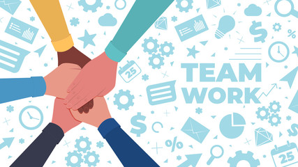 Hands together. Symbol of teamwork and unity. People putting their hands together on a icons background. Top view. Vector flat illustration