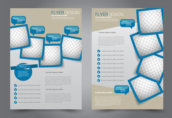 Flyer template. Brochur design for a business, education, advertisement. A4 poster layout Vector illustration. Blue color.