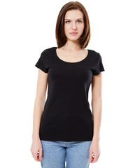 woman posing in stylish blank t-shirt against white wall background