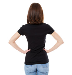 brunette woman t shirt isolated on white background,back view tshirt