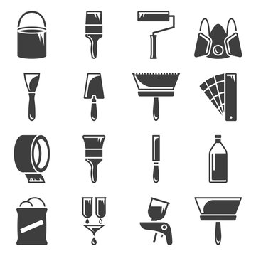 Set of icons related to painting and paint work. Vector on white background