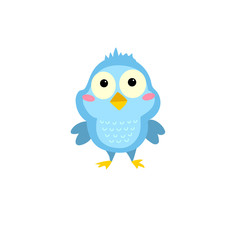 Little cartoon bird. Character is great for children's products: clothes, textiles, postcards, stationery products and other things. Vector illustration.