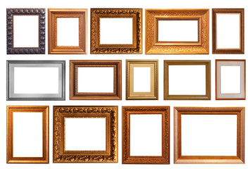 Vintage frames, pictures isolated.