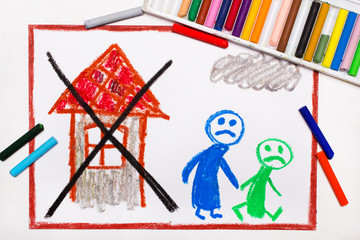 Colorful drawing: Two sad people leave their home. The problem of homelessness, eviction or moving out.