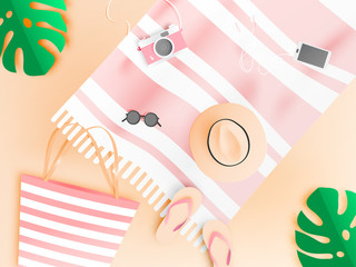 Beach things paper art style with pastel color vector illustration