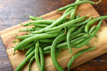 green beans on the kitchen table
