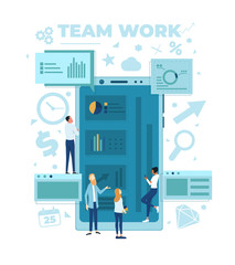 The team is working on a business project. The working process. Analytics, information gathering, teamwork. Smartphone and business team isolated on white background. Vector illustration.
