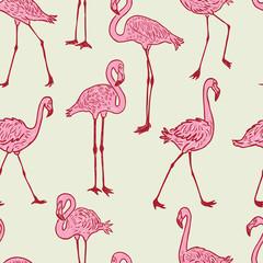 Tuinposter Flamingo Seamless background of the cartoon pink flamingos
