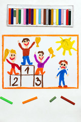 Colorful drawing: happy children standing on the winner podium and one boy crying because he lost