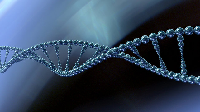 Single stylized DNA spiral in abstract space