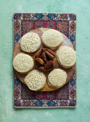 Arabic pancakes with dates.