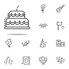 birthday cake dusk style icon. Birthday icons universal set for web and mobile