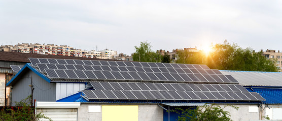Solar panels, photovoltaics, alternative electricity source - concept of sustainable resources