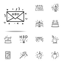 letter with birthday greeting dusk style icon. Birthday icons universal set for web and mobile