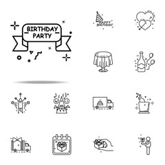 happy birthday ribbon dusk style icon. Birthday icons universal set for web and mobile