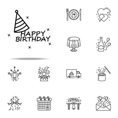 happy Birthday dusk style icon. Birthday icons universal set for web and mobile