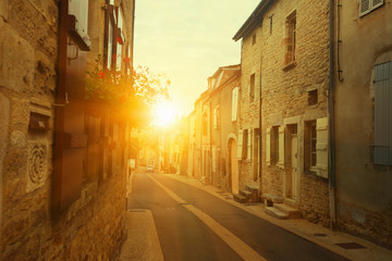 View of streets of the French town  Bligny-sur-Ouche in  France