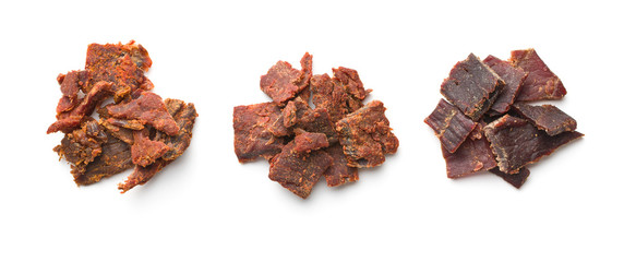 Beef jerky pieces.
