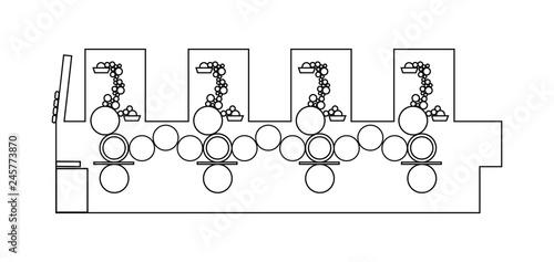 Excellent Outline Vector Illustration Of Printing Machine Diagram Offset Wiring Digital Resources Attrlexorcompassionincorg