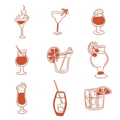 alcoholic drinks selection of simple images doodle
