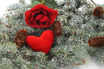Winter tree with heart and rose and cones.