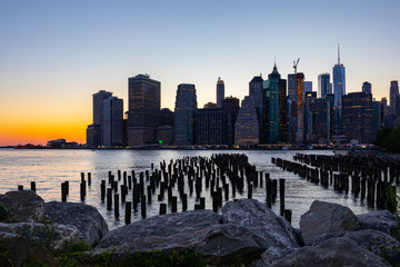 Sunset over Manhattan - View from Brooklyn park