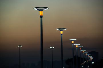 Lighting equipment in street, Led lamp. Wall mural