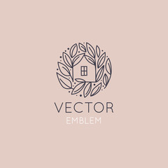 Vector logo design template in simple linear style - home decor store
