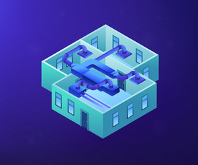 Fototapeta Indoor ventilation system pipes in the apartment. Ventilation system, energy recovery ventilation, airing system cleaning concept. Ultraviolet neon vector isometric 3D illustration. obraz