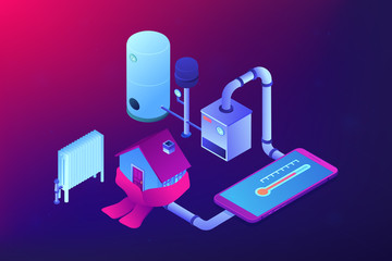 Smart house heating and climat monitoring system controlled with smartphone. Heating system, home heating technologies, home energy economy concept. Ultraviolet neon vector isometric 3D illustration.