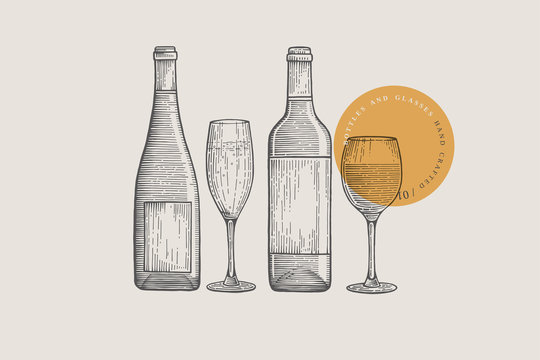 Image of wine bottles and glasses of different shapes, drawn by graphic lines on a light background. Vector illustration in engraving style.