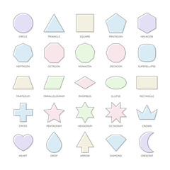 Outline vector set basic geometric shapes. Kids thin figures school collection. Triangle, square, pentagon, octagon, superellipse, trapezium, rhombus, ellipse, heart, octagram, diamond, star, polygon.