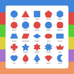 Basic kids rounded corners flat figures school collection. Vector set geometric safe shapes. Triangle, square, pentagon, octagon, trapezium, rhombus, ellipse, heart, diamond, star, polygon, moon, plus