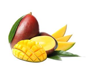 Tropical delicious ripe mango on white background