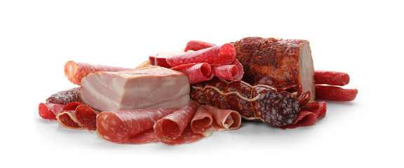 Foto op Plexiglas Vlees Different tasty meat delicacies on white background