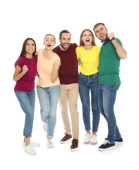 Young people celebrating victory on white background