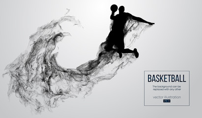 Abstract silhouette of a basketball player on white background from particles, dust, smoke, steam. Basketball player jumping and performs slam dunk. Background can be changed to any other. Vector