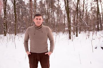 man winter forest phone tourism selfie photo