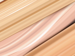 Liquid foundation cream or cosmetic concealer smear strokes