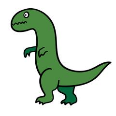 Cartoon doodle linear dinosaur, tyrannosaurus isolated on white background. Vector illustration.