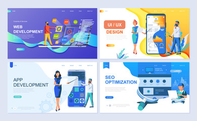Set of landing page template for Web and App Development, UI/UX Design, SEO. Modern vector illustration flat concepts decorated people character for website and mobile website development.