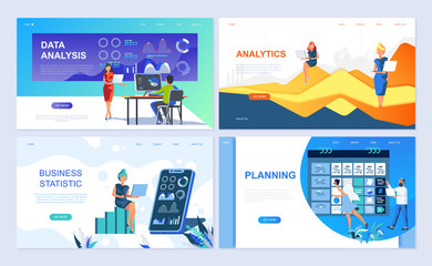 Set of landing page template for Data Analysis, Analytics, Business Statistic, Planning. Modern vector illustration flat concepts decorated people character for website and mobile website development.