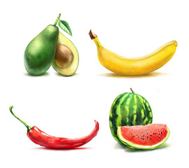 Food set.Set from drawn banana, pepper, avocado and watermelon isolated on white background