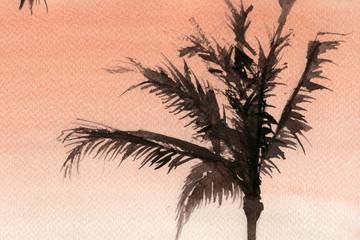 palms, sky, summer, sunset, evening. watercolor.